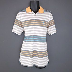 IZOD Golf Polo Shirt Collar Fitted Sporty Striped Men's Med Orange Gray Athletic